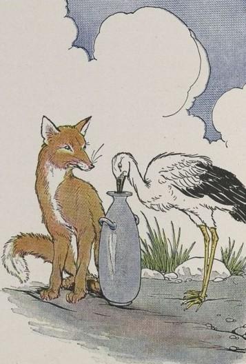 משל השועל והחסידה, איזופוס, איור מיילו וינטר